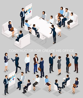 会議とブレーンストーミングの彼のイラストを作成するビジネス人々等尺性セット