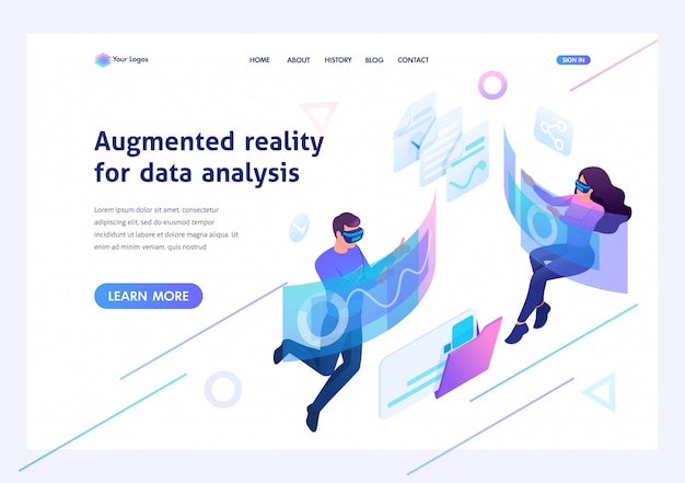 Изометрическая концепция молодые люди используют дополненную реальность и виртуальные очки для анализа данных. шаблон целевой страницы для веб-сайта