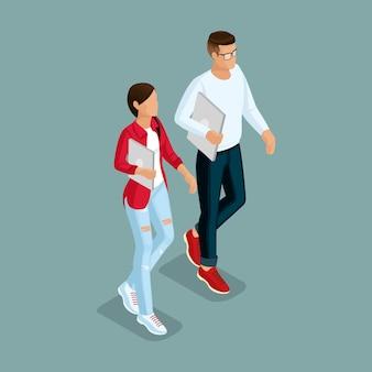 Модные изометрические люди