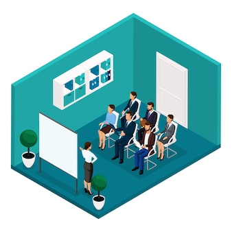 Тенденция изометрии люди, учебная комната, вид спереди, тренеры, обучение, лекция, встреча, мозговой штурм, бизнесмены и предприниматель в изолированных костюмах. векторная иллюстрация