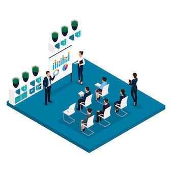 概念等尺性の人々学習概念背面図、コーチ、トレーニング、講義、会議、ブレーンストーミング、ビジネスマン、スーツの女性実業家
