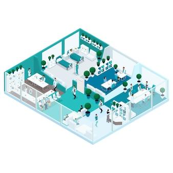 ガラスのファサードを持つ病院のトレンディな等尺性人イラストは、病院のコンセプトの家、オフィスマネージャー、外科医、看護師のワークフロー、医療従事者の正面図です。