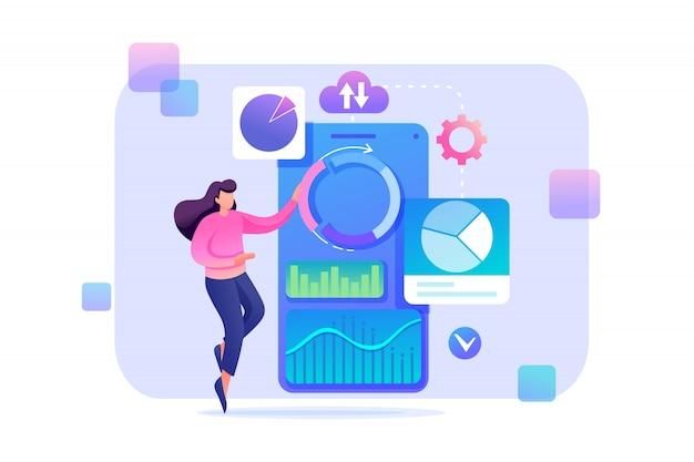 Молодая девушка в процессе работы. концепция женщина персонаж с графиком исследований и диаграмм. плоский характер концепция для веб-дизайна