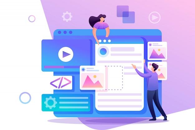 Молодые люди занимаются веб-дизайном, разработкой страниц сайта. плоский характер концепция для веб-дизайна