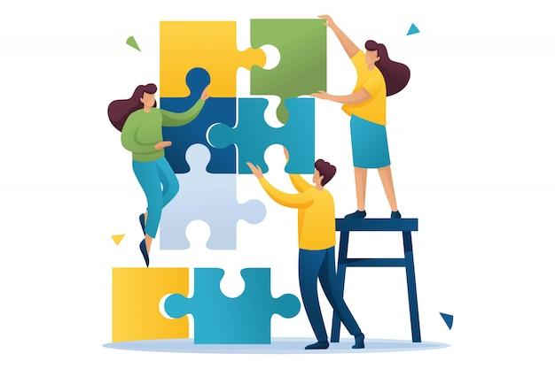 Молодые люди, соединяющие элементы головоломки, работа в команде, сотрудничество, партнерство. плоский характер концепция для веб-дизайна