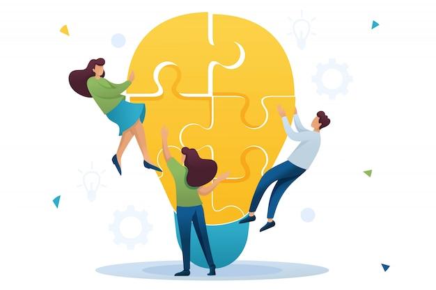 Молодая команда создает идею, командную работу молодой команды. мозговой штурм бизнес-идей. плоский характер концепция для веб-дизайна