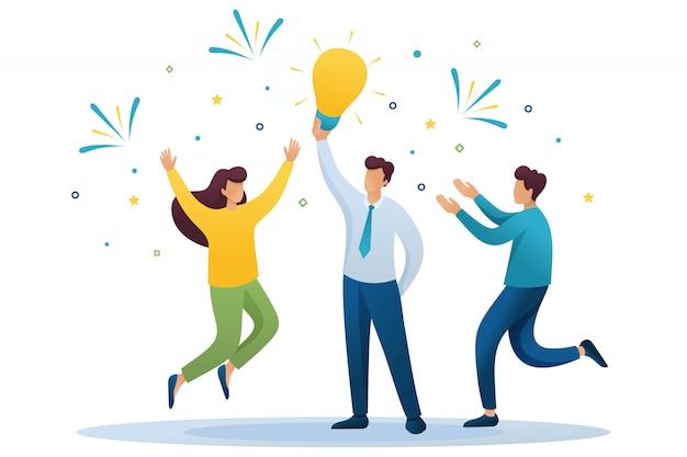 Молодая команда создает новую идею, командную работу. мозговой штурм бизнес-идей. плоский характер концепция для веб-дизайна