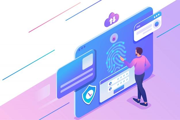 Изометрическая иллюстрация молодого человека, обеспечивающего защиту данных на планшете, настройки антивируса