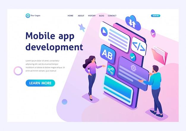 Изометрические молодая девушка и мальчик разрабатывают мобильное приложение для смартфонов. шаблон целевой страницы для сайта