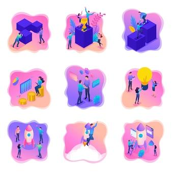 Изометрические яркие концепции с подростками или молодыми предпринимателями.