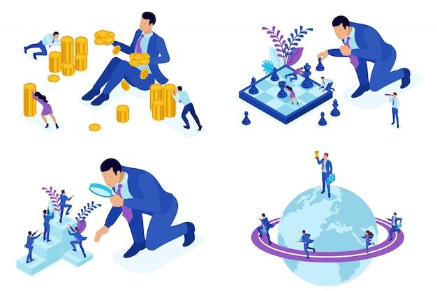 キャリアの成長、昇進、お金を稼ぐの等尺性の概念。