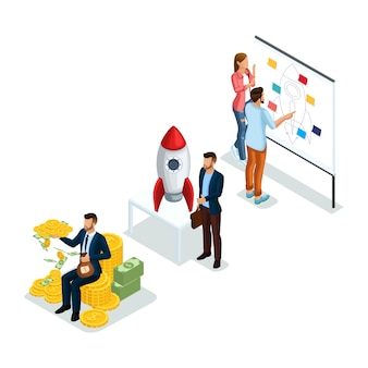 Молодые предприниматели, новый проект запуска бизнеса для инвесторов, чтобы оценить в поисках инвестиций изолированы