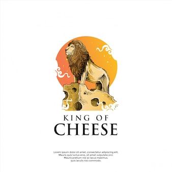 チーズのロゴのテンプレートの上のライオン