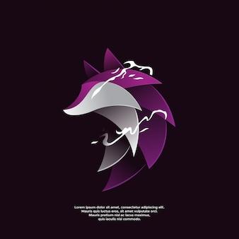 Шаблон логотипа градиент фиолетовый волк