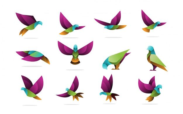 Пакет градиента голубь голубь логотип