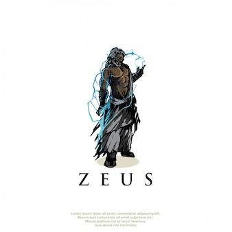 手描きギリシャ神ゼウスロゴ