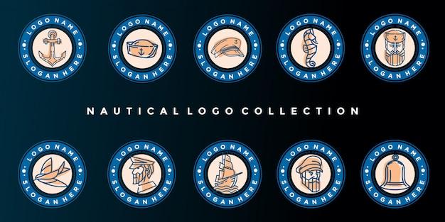 Набор значков морских логотипов