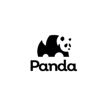 ミニマリストのネガティブスペースパンダのロゴ