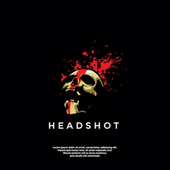 ヘッドショットスカルのロゴのテンプレート