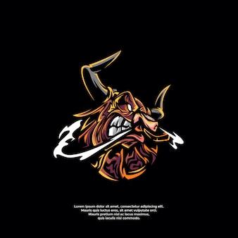 怒っている雄牛のロゴのテンプレート