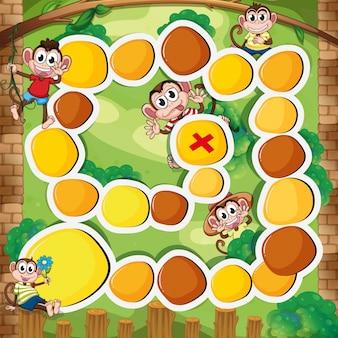 森のイラストの猿のボードゲームのテンプレート