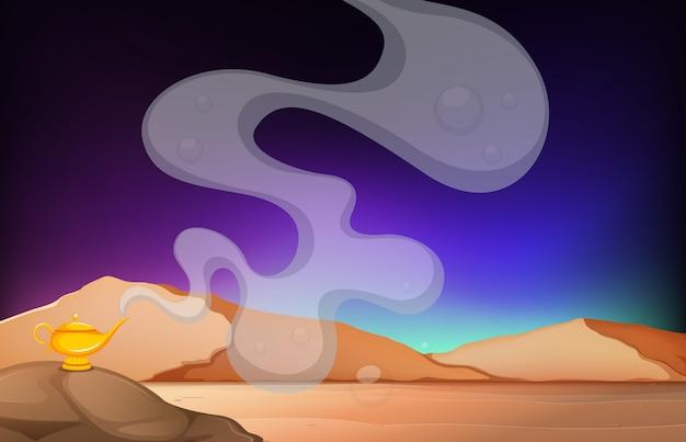 岩の上に黄金のランプが付いた砂漠の風景