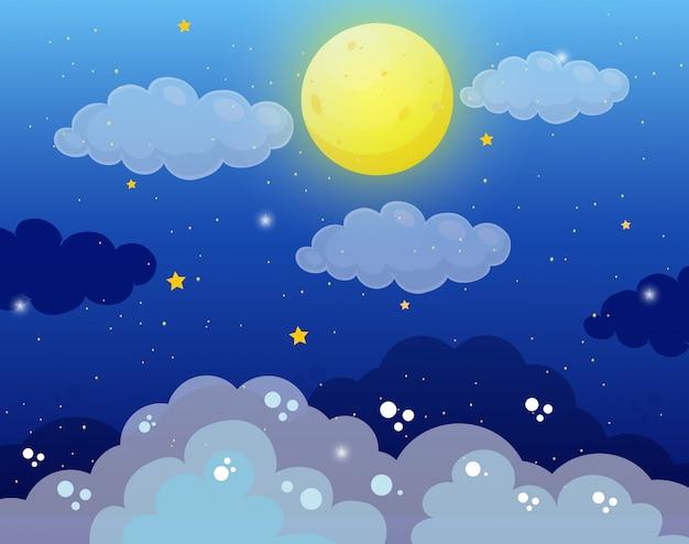 満月と星の空の背景