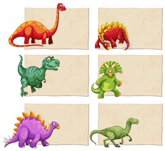 Пустой шаблон с динозаврами