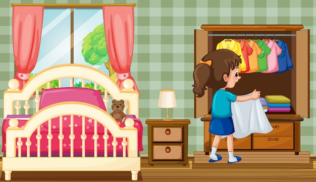 ワードローブ付きベッドルームの女の子