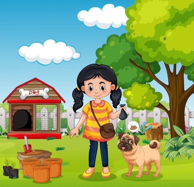 自然肥料を持っている女の子