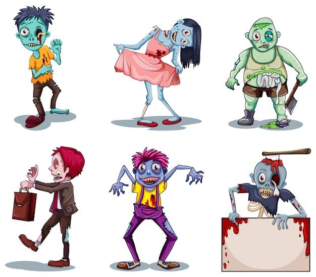 Иллюстрация страшных зомби на белом фоне