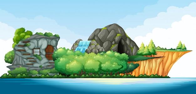 海の真ん中の島