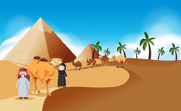 ピラミッドとラクダの砂漠の風景