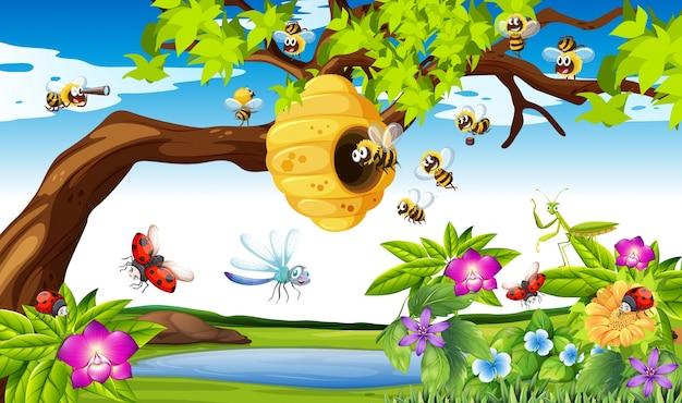 庭のイラストで木々の周りを飛んでいるミツバチ