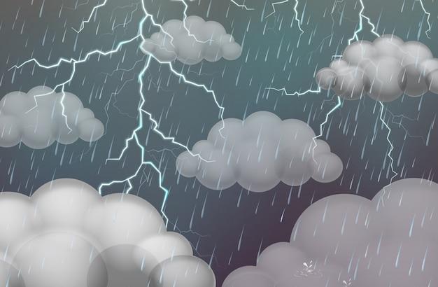 雷雨と雨が降るスカイシーン