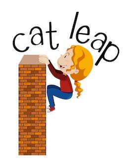 白い背景で猫の飛躍運動