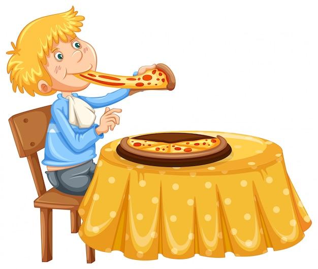白い背景にピザを食べる男