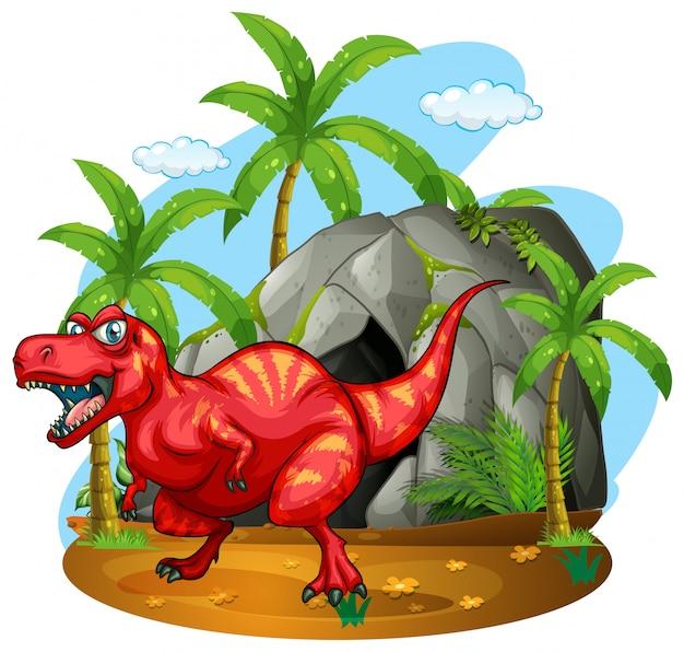 Динозавр, стоящий перед пещерой
