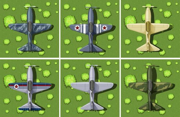 Шесть образцов военного самолета