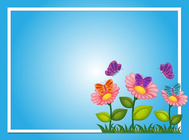 Граница границы с цветами и бабочками