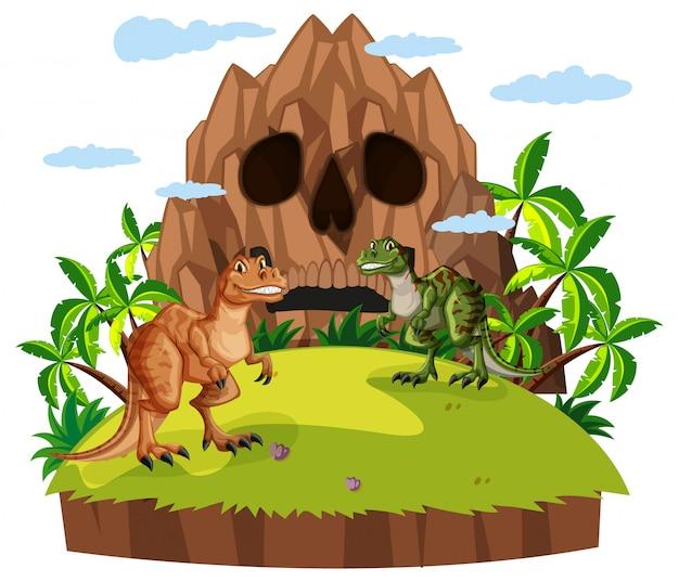 Сцена с двумя динозаврами