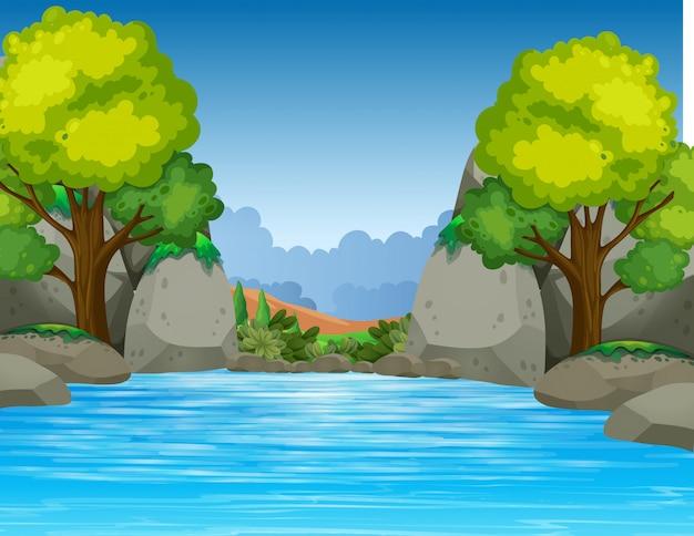美しい谷の大きな池