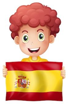スペインの旗を持つ少年