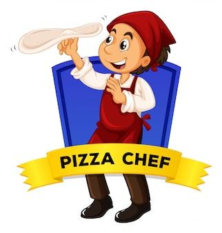 Дизайн этикетки с шеф-поваром из пиццы