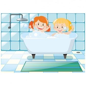 お風呂の背景を持つ少女