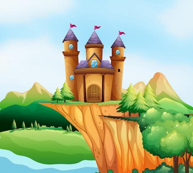 崖の上の城の塔のある場面