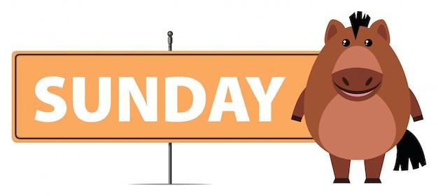 Лошадь и знак на воскресенье