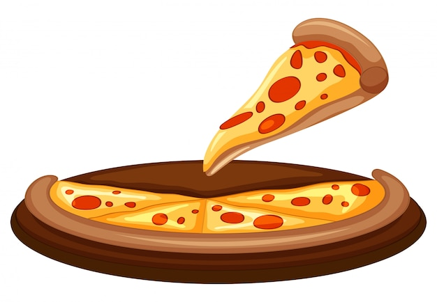 白い背景にピザのベクトル