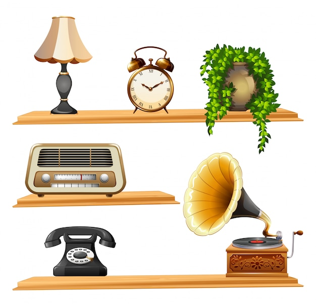 木製棚のヴィンテージアイテム