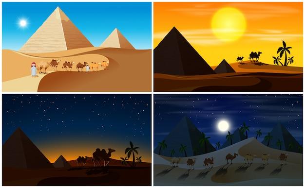 砂漠の風景の昼と夜のセット